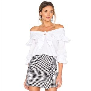 Lovers and Friends White Off-the-Shoulder Crop Top